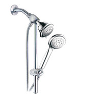Dream Spa® 3-way Shower Combo PLUS Instant-Mount Drill-Free Slide Bar - Enjoy Overhead & Handheld Shower Head with Height/Angle Adjustable Bracket and Stainless Steel Hose for Ultimate Convenience!