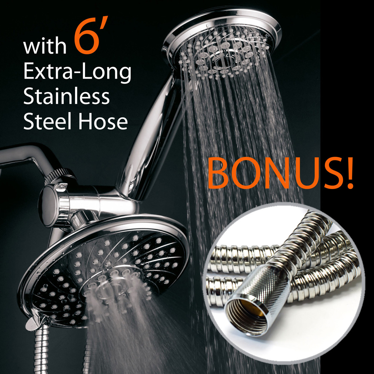 Hotel Spa 30 Setting 6 Rainfall Shower Head And Handheld Shower Dual 3 Way Shower Combo With Extra Long Premium 6 Ft Stainless Steel Shower Hose