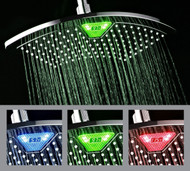 DreamSpa® AquaFan 12-inch All-chrome Rainfall Shower Head with Color-Changing LED/LCD Temperature Display