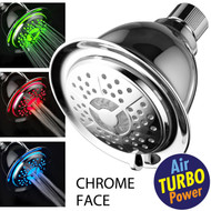 Power Spa® All Chrome 4-Setting LED Shower Head with Air Jet LED Turbo Pressure-Boost Nozzle Technology; 7 Colors of LED Lights Change Automatically Every Few Seconds