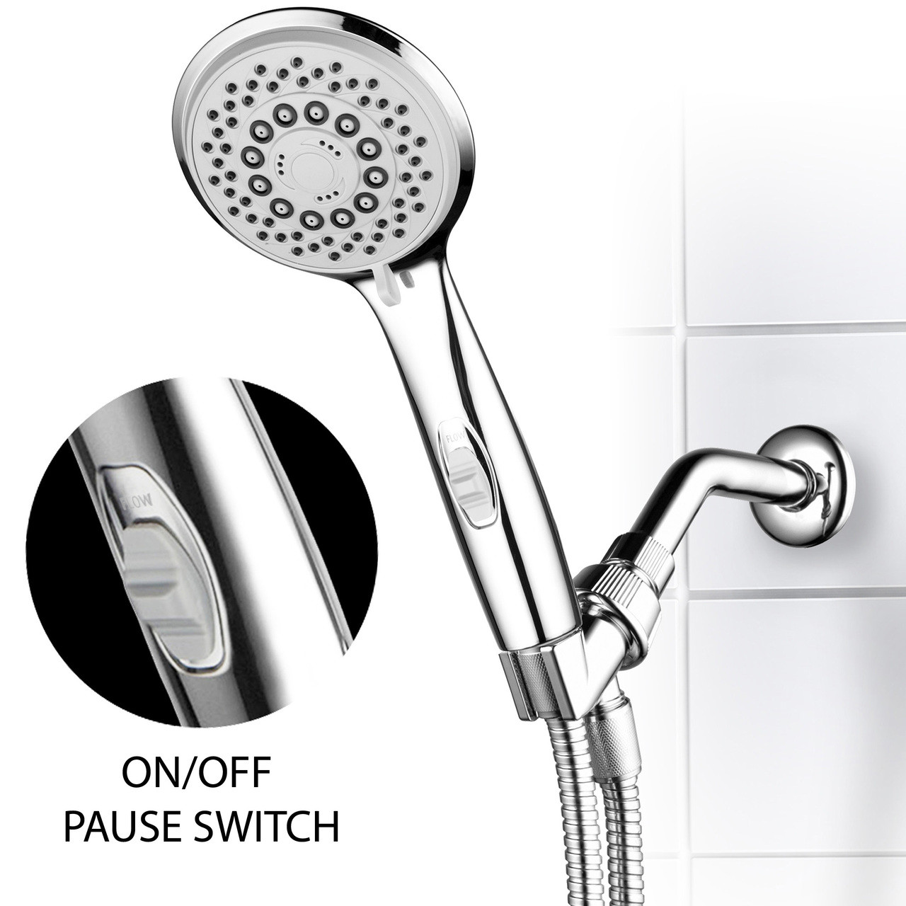 Hotel Spa High Pressure 7 Setting Handheld Shower Head With 4 Inch Face Patented Water Saving On Off Pause Switch Angle Adjustable And Easy