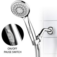 HotelSpa High-Pressure 7-Setting Handheld Shower Head with 4-inch Face, Patented Water-Saving ON/OFF Pause Switch, Angle-Adjustable and Easy Tool-Free Installation – Chrome Finish