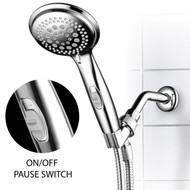 Dream Spa® 1459 9-Setting High-Power Ultra-Luxury Handheld Shower Head with Patented ON/OFF Pause Switch and 5-7 foot Stretchable Stainless Steel Hose (Premium Chrome) Use as overhead or handshower