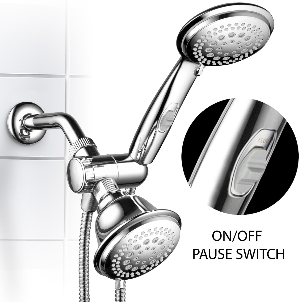 Hotel Spa 1465 Ultra Luxury 42 Setting Head Handheld Shower Combo With Patented On Off Pause Switch And 5 7 Foot Stretchable Stainless Steel