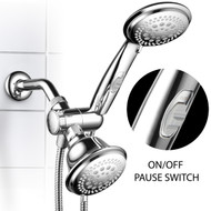 HotelSpa® 1465 Ultra Luxury 42 Setting Head/Handheld Shower Combo with Patented ON/Off Pause Switch and 5-7 Foot Stretchable Stainless Steel Hose/Premium Chrome