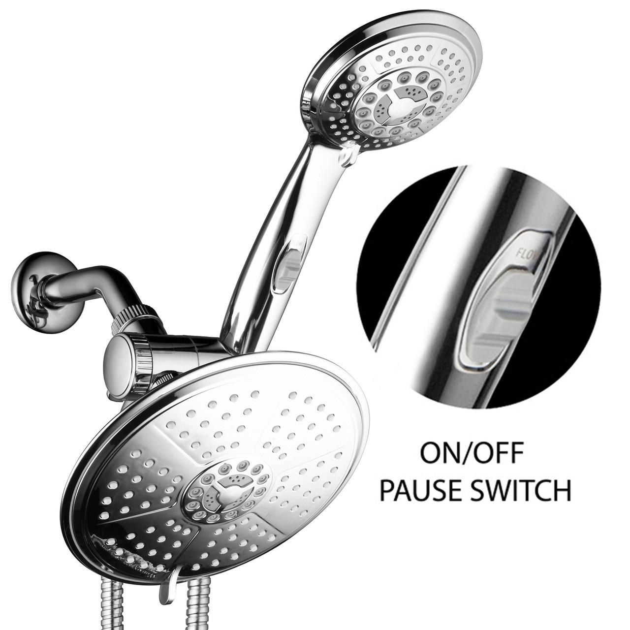 3 Ways Setting Rainfall Dual Shower Head High Pressure Handheld Combo wit U