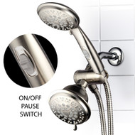 Hotel Spa® 42-Setting Ultra-Luxury 3-Way Combo with ON/Off Pause Switch/Brushed Nickel
