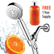 Hotel Spa® Fusion Vitamin C Chlorine Removing Shower-Head. 7-Setting Water Conditioning Handheld Shower with Overhead Bracket, Refillable Cartridge & Hose. Includes 1 Year Vitamin C Supply