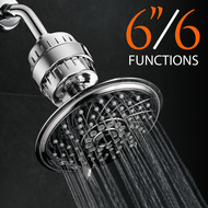 Hotel Spa® Ultra-Luxury 6 Setting 6 Inch Rainfall Shower Head and Universal High Performance 2 Stage KDF/CAG Shower Filter with Disposable Cartridge (Premium Chrome Finish)