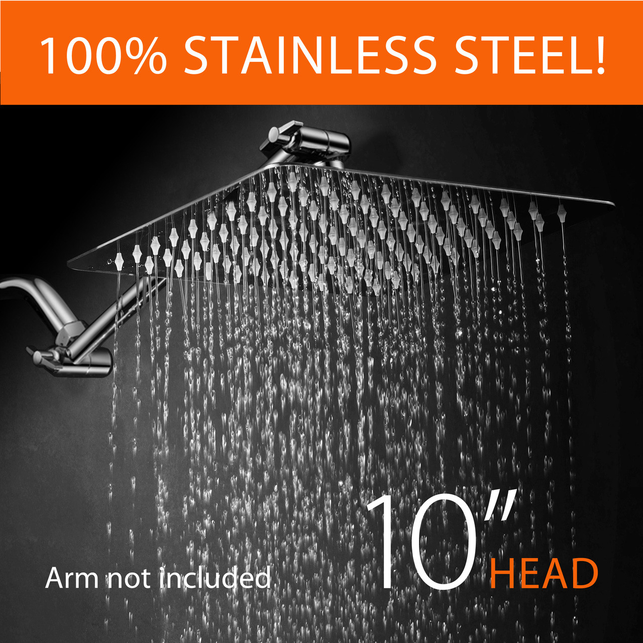 Hotelspa Giant 10 Inch Stainless Steel Square Rainfall Shower Head