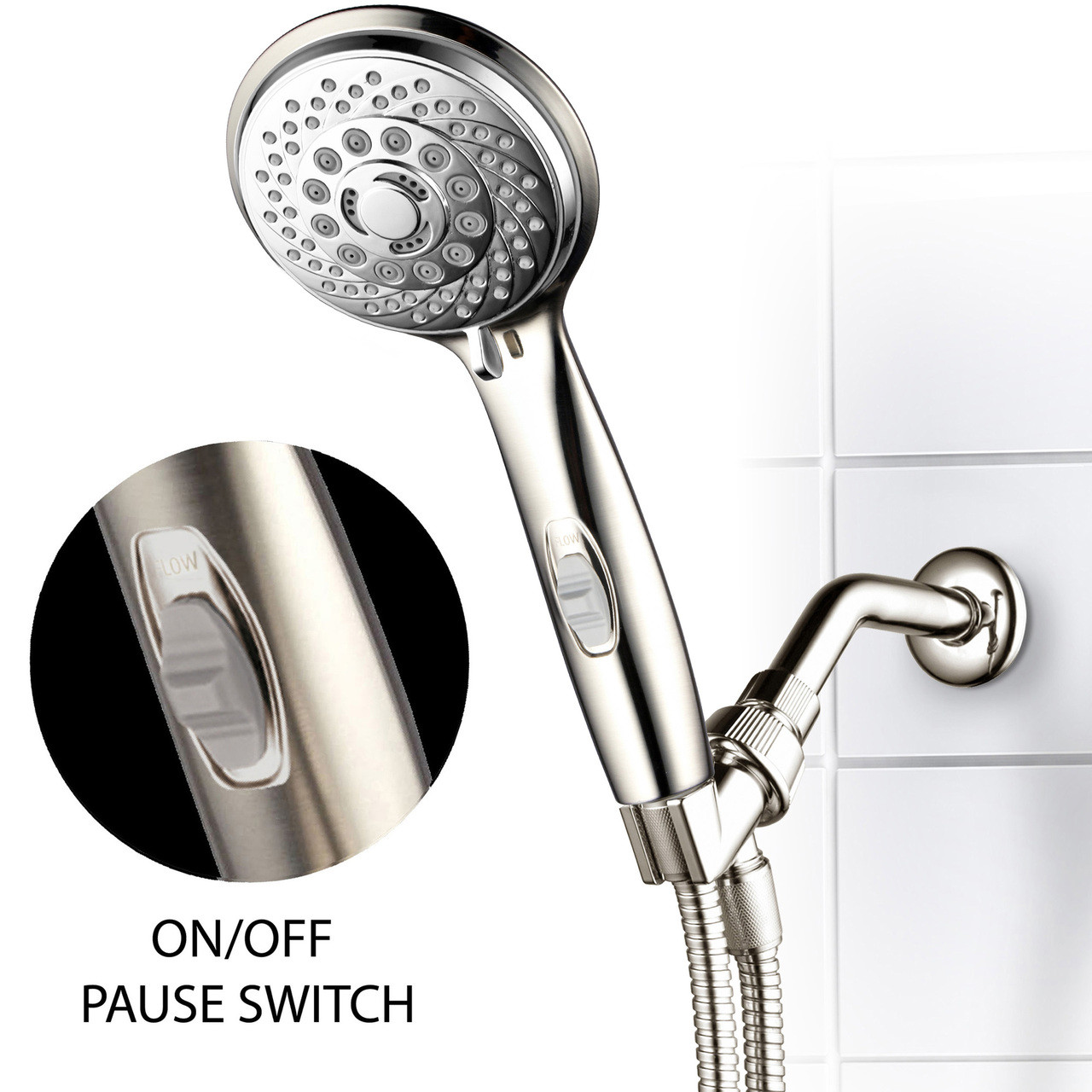 Hotel Spa 7 Setting Ultra Luxury Handheld Shower Head With Patented On Off Pause Switch Brushed Nickel Chrome