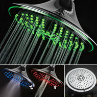 Dream Spa® Ultra-Luxury Extra-large 8 Inch Chrome Face 5-Setting Rainfall LED Shower-Head by Top Brand Manufacturer. Color of LED lights changes automatically according to water temperature