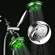 Dream Spa® All Chrome 3-way LED Shower Head Combo with Air Jet LED Turbo Pressure-Boost Nozzle Technology. Color of LED lights changes automatically according to water temperature