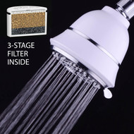 HotelSpa® Filtered 6-Setting Shower Head with 3-Stage Shower Filter Cartridge Inside