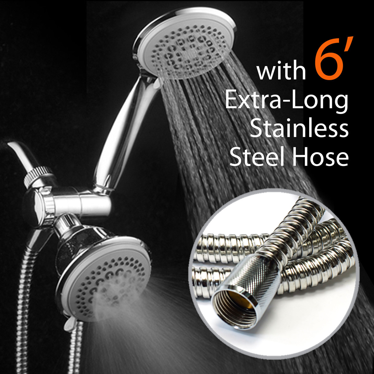 Dream Spa Luxury 36 Setting Large Showerhead And Hand Shower Dual 3 Way Combo By Top Brand Manufacturer Fixed And Handheld Shower Heads