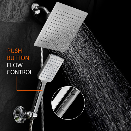 brushed nickel rain shower head with handheld. Image 1 DreamSpa  9 Inch Square Rain Shower Head Handheld Combo With Flow