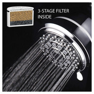 AquaCare By HotelSpa® Large Filtered 6-Setting Chrome Face Shower Head with 3-Stage Shower Filter Cartridge Inside