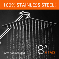 Hotel Spa® 8-inch 100% Stainless Steel Rainfall Shower Head with Ultra-Thin Low Profile, Waterfall Coverage, and 64 Easy-to-Clean Jets, Simple Install Without Tools – Chrome Finish