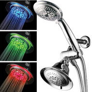 Hotel Spa® Shower Combo with LED Shower Head. High-Performance 2 in 1 Combination Shower System Use Overhead Hands-Free Enjoy Regular or LED Shower Pampering Shower Heads and Ambiance of LED Lighting