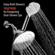 AquaSpa® 6-inch Rain Shower Head/Handheld Combo. Convenient Push-Button Flow Control Button for easy one-handed operation. Switch flow settings with the same hand! Premium Chrome