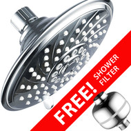 Hotel Spa® Super-Value Pack: High-Power 6-Setting 6-inch Rain Shower Head PLUS Universal Shower Filter with 3 Stage Cartridge. Enjoy Luxurious Spa Experience PLUS healthier shower water!