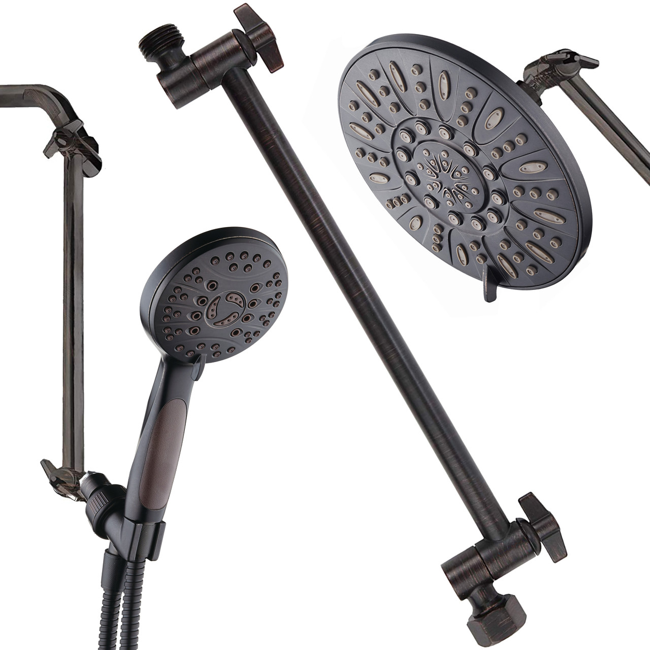 Hotel Spa 11 Solid Brass Adjustable Shower Extension Arm With Lock Joints Lower Or Raise Any Rain Or Handheld Showerhead To Your Height Angle 2 Foot Range Universal Connection Oil