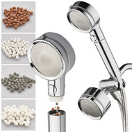 LaserJet 3-way Shower Head Combo with 3 Water Filters & Pause Switch – High Pressure Laser Micro-Jets – Removable Face for Easy Cleaning – Extra-long 72-inch Stainless Steel Hose – All-Chrome Finish