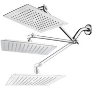 AquaSpa® Giant 9-inch Diagonal Square Rain Shower Head PLUS 11-inch Solid Brass Angle Adjustable Extension Arm. 121 Jets with Rub-Clean Nozzles. Front and Back All-Chrome Finish. Sleek Square Design