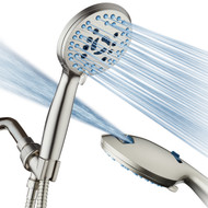 AquaCare AS-SEEN-ON-TV High Pressure 8-mode Handheld Shower Head - Antimicrobial Nozzles, Built-in Power Wash to Clean Tub, Tile & Pets, Extra Long 6 ft. Stainless Steel Hose, Wall & Overhead Brackets, Satin Nickel