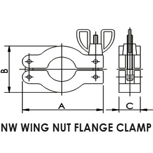 NW 50 wing nut flange clamp - drawing