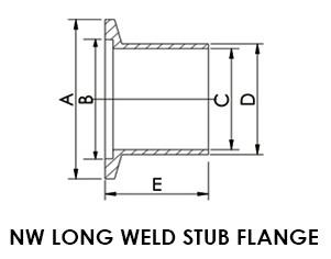 """NW 40 Long Weld Stub Flange, 1 1/2"""" OD"""