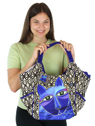 Laurel Burch Whiskered Cats Blue Scoop Tote Bag LB5630D