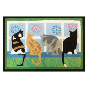 Four Window Cats Rug Indoor Outdoor Washable JB-STS012
