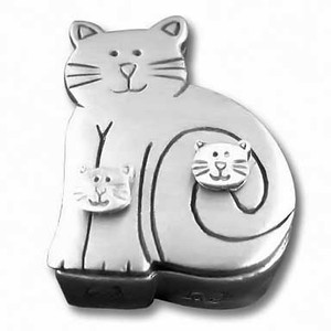 Pewter Cat Jewelry Box with Cat Post Earrings Pin Necklace JB172