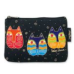 """Laurel Burch Cotton Canvas Cosmetic Bag """"Feline Faces"""" - LB2090B"""