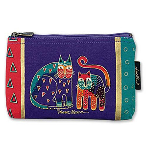 "Laurel Burch Cotton Canvas Cosmetic Bag ""Fantastic Felines""  Dark Blue -LB2090C"