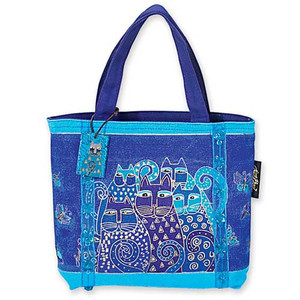 "Laurel Burch ""Indigo Cats"" Small Handbag  -  LB415"