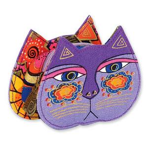 Laurel Burch Cat Face Dimensional Canvas Zip Coin Purse - LB4300D