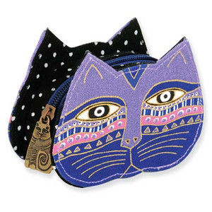 Laurel Burch Cat Face Dimensional Canvas Zip Coin Purse - LB4300E