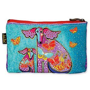 """Laurel Burch Dog Cotton Canvas Cosmetic Bag """"Papillon"""" - LB4640A"""