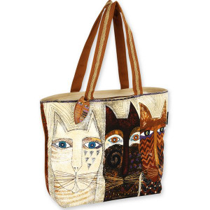 Laurel Burch Ancestral Cats Large Square Tote - LB4760