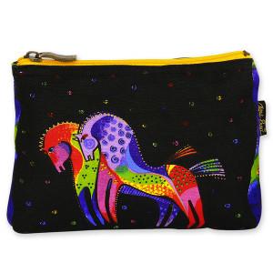 Laurel Burch Cotton Canvas Cosmetic Bag Rainbow Horses - LB4890C