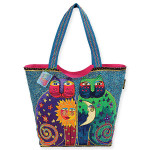 Laurel Burch Celstial Felines Large Square Tote - LB5170