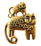 "Laurel Burch ""Feline Family"" Pin - Goldtone - LBP44G"