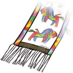 "Laurel Burch Silk Scarf   ""Rainbow Horses""  White with Fringe - LBS154A"
