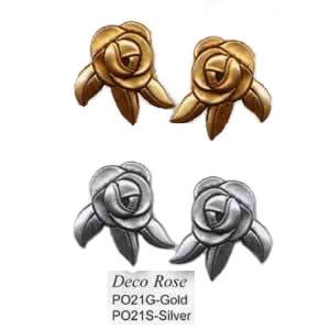 "Laurel Burch ""Deco Rose"" Cast Metal Post Earrings -  Silver or Gold - PO21"