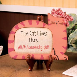 Cat Lives Here Framed Stitchery Decor 32674
