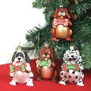 Glass Dog Christmas Ornaments 81526