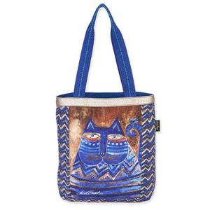 Laurel Burch Blue Azul Cat Shoulder Tote Bag