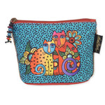 Laurel Burch Feline Minis Clutch Cosmetic Blue Dots